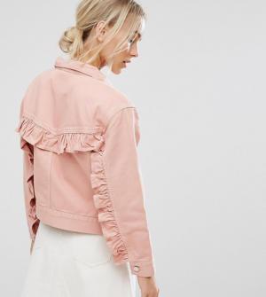 ASOS PETITE – Veste en jean avec volants au dos – Rose délavé – Bleu