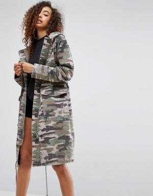 ASOS – Parka en imprimé camouflage délavé – Multi