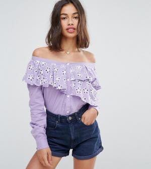 ASOS Petite – Chemise à épaules dénudées en coton brodé – Violet