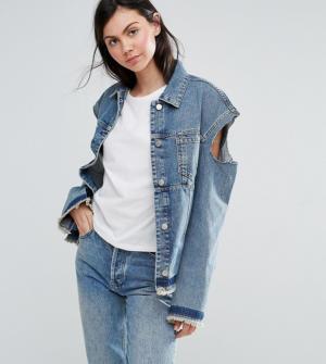 ASOS TALL – Veste en jean déstructurée à épaules nues – Bleu