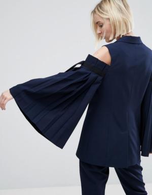 ASOS Tailored – Blazer à épaules nues et manches larges – Navy