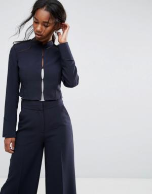 ASOS Tailored – Blazer court style militaire – Navy