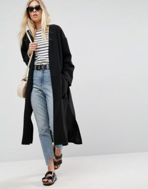 ASOS Tailored – Veste longue bord à bord – Noir