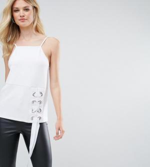 ASOS Tall – Caraco en point de Rome avec encolure carrée et lacets à œillets – Blanc