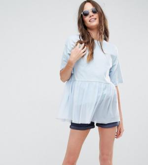 ASOS Tall – T-shirt en tulle oversize – Bleu