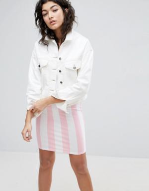 ASOS – Veste courte en jean coupe carrée – Blanc – Blanc