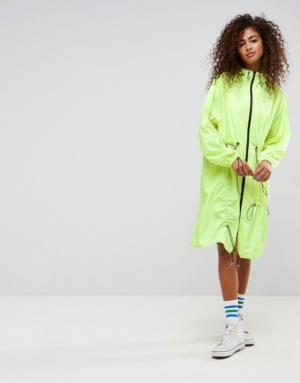 ASOS – Veste de pluie fluo avec cordons élastiques et fronces – Jaune