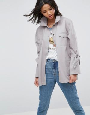 ASOS – Veste en coton avec liens sur les manches – Gris