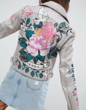 ASOS – Veste en cuir de qualité supérieure avec roses imprimées style tatouage et clous &# ...