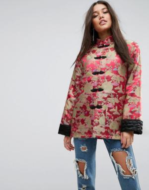 ASOS – Veste kimono en jacquard avec revers aux manches – Rouge