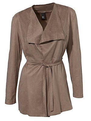 Blazer long et ample en jersey, effet cuir et velour femme B.C. Best Connections écru