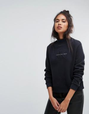 Calvin Klein Jeans – Sweat à col polo – Noir