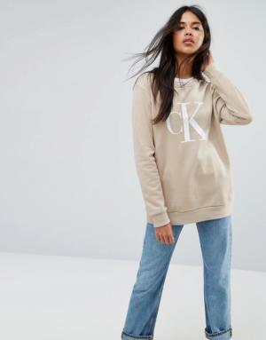 Calvin Klein Jeans – Sweat-shirt ras de cou avec logo – Argenté