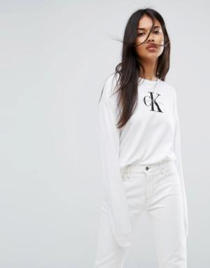 Calvin Klein Jeans – Top à manches longues – Blanc