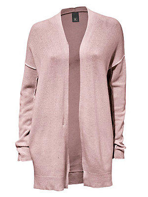 Cardigan long en tricot fin uni, coutures sur manches femme B.C. Best Connections rose