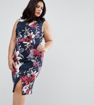 Coast Plus – Penelope – Robe fourreau en néoprène à fleurs – Navy