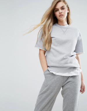 Converse – Premium Essentials – Sweat-shirt manches courtes – Gris – Gris