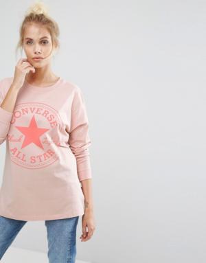 Converse – T-shirt à manches longues avec logo Chuck – Rose – Rose