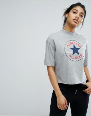 Converse – T-shirt court à encolure montante – Gris – Gris