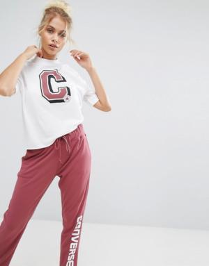 Converse – T-shirt style universitaire col montant en maille – Blanc – Blanc
