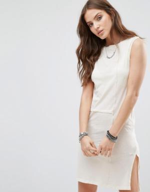 Diesel – Robe tunique à empiècement transparent – Blanc