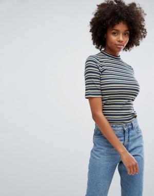 Esprit – T-shirt à rayures avec col montant – Multi