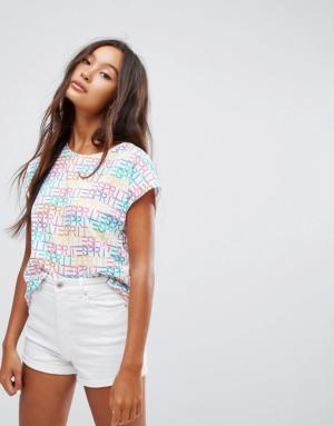 Esprit – T-shirt à slogan sur l'ensemble – Blanc