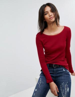 Esprit – Top à bordure en dentelle – Rouge
