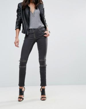 G-Star – Lynn Custom – Jean skinny taille mi-haute – Noir