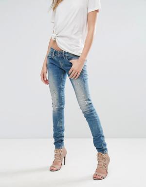 G-Star – Midge – Jean skinny taille basse à fermeture éclair – Bleu