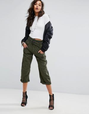 G-Star – Pantalon chino court style skateur avec ceinture nouée – Vert