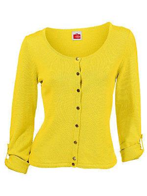 Gilet basique, fin, à petits boutons dorés femme Rick Cardona jaune