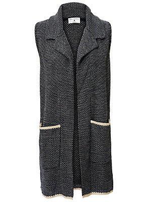 Gilet en tricot sans manches, poches plaquées femme Rick Cardona bleu