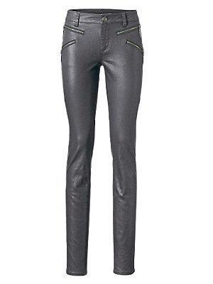 Jean slim femme brillant, poches zippées latérales femme B.C. Best Connections gris