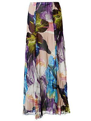 Jupe longue froissée fleurie femme Ashley Brooke multicolore