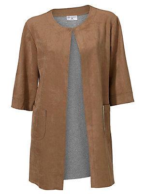 Manteau en daim mi-long et ample tendance, manches 3/4 femme Rick Cardona marron