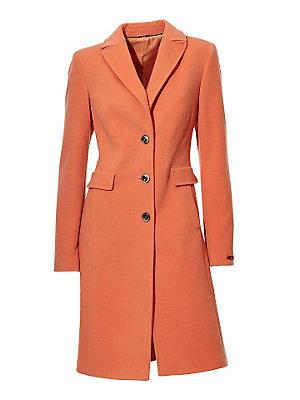 Manteau en laine, coupe caban long 3 boutons femme Ashley Brooke orange