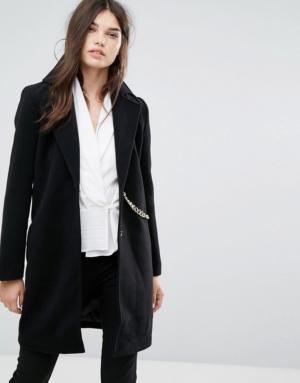Missguided – Manteau imitation laine avec chaîne – Noir – Noir