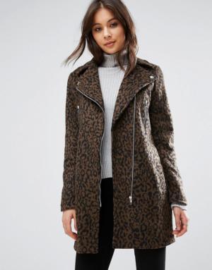 Missguided – Perfecto à motif léopard en laine mélangée – Multi