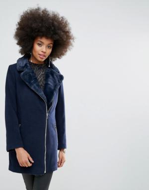 Missguided – Perfecto long imitation laine doublé de fausse fourrure – Bleu marine & ...
