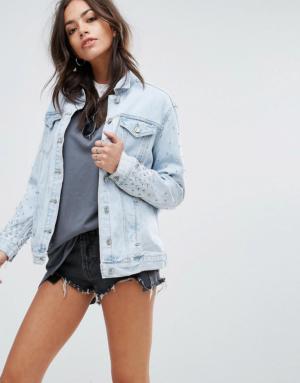 New Look – Bling – Veste en jean délavé style 80's – Bleu