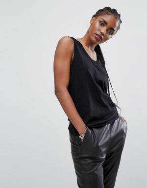 New Look – Débardeur grignoté – Noir