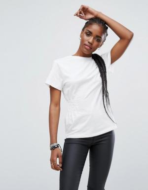 New Look – T-shirt à détail froncé – Blanc
