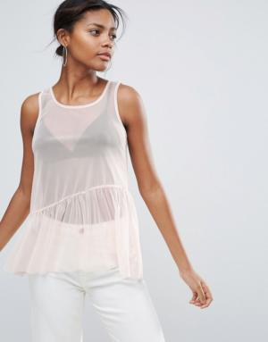 New Look Tall – Top en tulle à basque – Rose