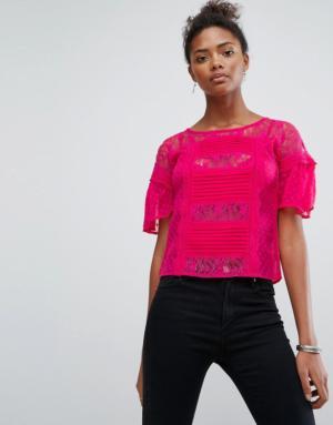 New Look – Top à détail en dentelle – Rose