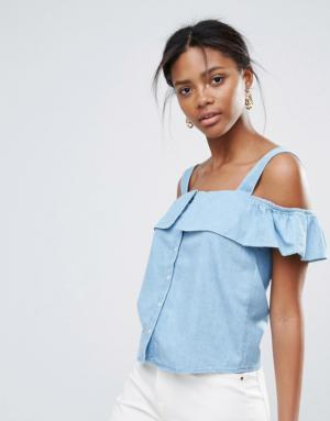 New Look – Top en jean déstructuré à épaules nues – Bleu