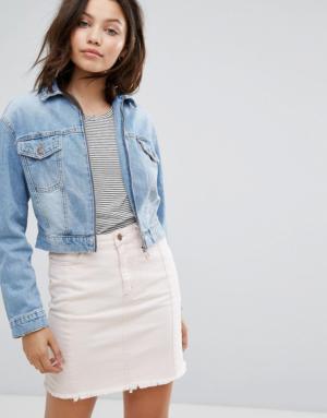 New Look – Veste en jean courte avec fermeture éclair sur le devant – Bleu