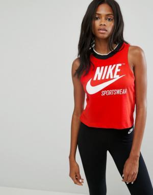 Nike – Archive – Débardeur court côtelé – Rouge