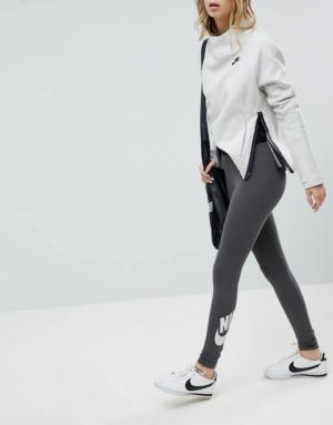 Nike – Leg A See – Leggings taille haute – Gris foncé – Gris