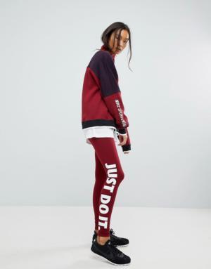 Nike – Leggings avec logo Just Do It – Rouge sport – Rouge